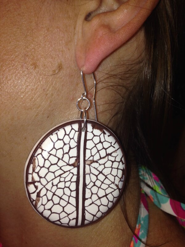 large polymer clay disk earrings coco nut like