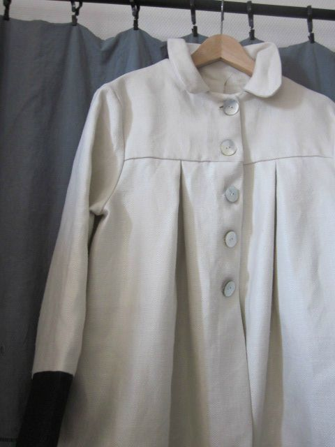 manteau d'été en lin chevron écru et jean's noir (1)