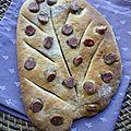 Fougasses : fouet catalan, chorizo, olives noires, gruyère