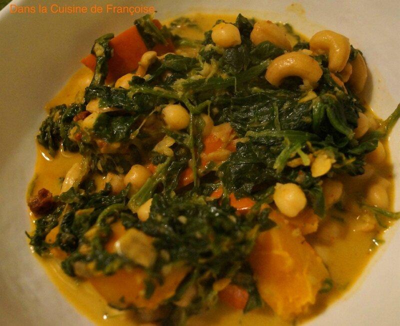 Potimarron Pois Chiches et Épinards au Curry Thaï