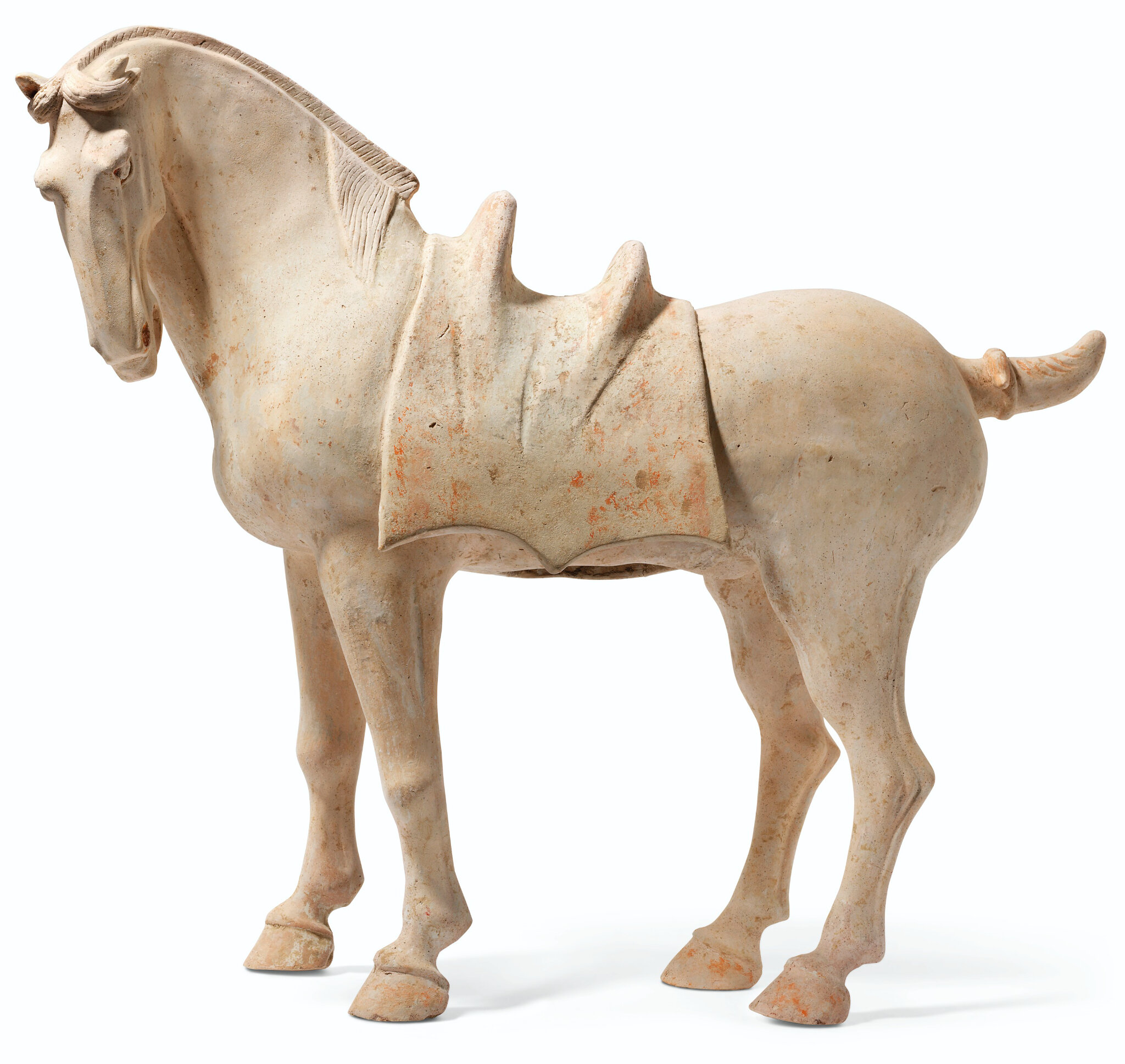 Cheval en terre cuite polychrome, Chine, dynastie Tang (618-907)
