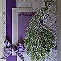 Carte paon en violet et vert