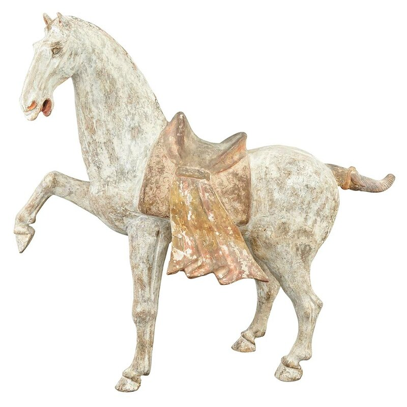 Chinese Painted Pottery Figure of a Prancing Horse, Tang Dynasty1