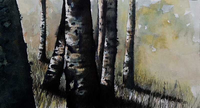 into the trees , plume et aquarelle, 2017