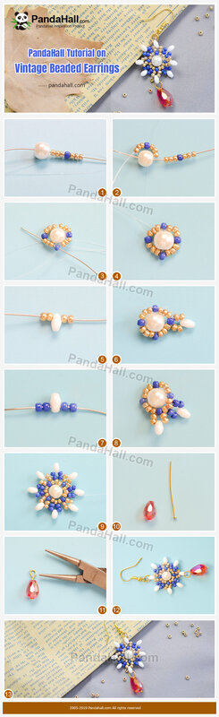 1-PandaHall Tutorial on Vintage Beaded Earrings