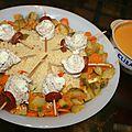 Semoule à la grecque , ses roulés de poulets à la feta et sauce féta