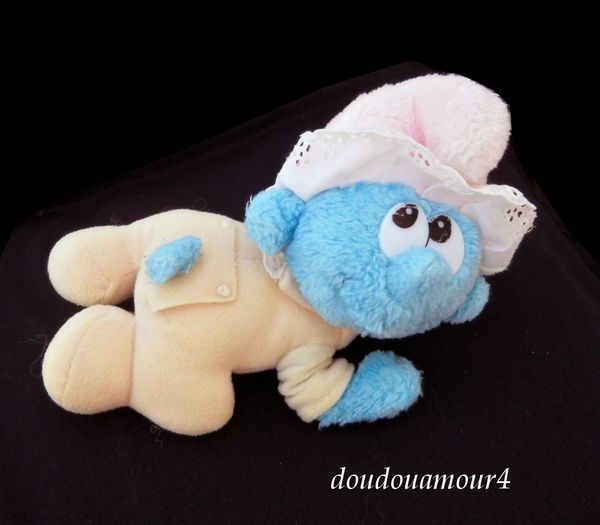 Doudou Bébé Schtroumf Applause Vintage Jaune et Bleu Bonnet Rose