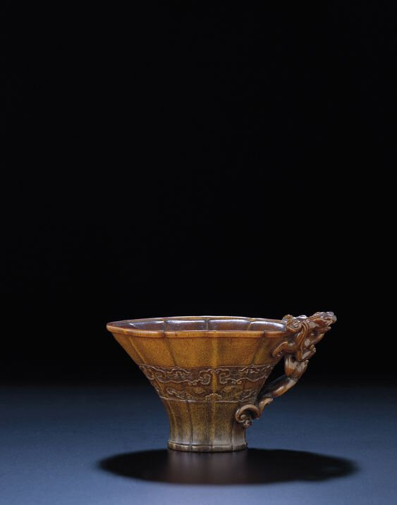 A finely carved rhinoceros horn libation cup, Late Ming-Early Qing dynasty, 17th century