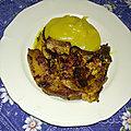 Côte de porc et purée de pommes de terre au curry madras