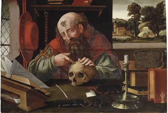 Antwerp School, late 16th Century - Saint Jerome in his study