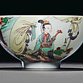 An unusual famille verte bowl, kangxi six-character mark in underglaze blue within a double circle and of the period (1662-1722)