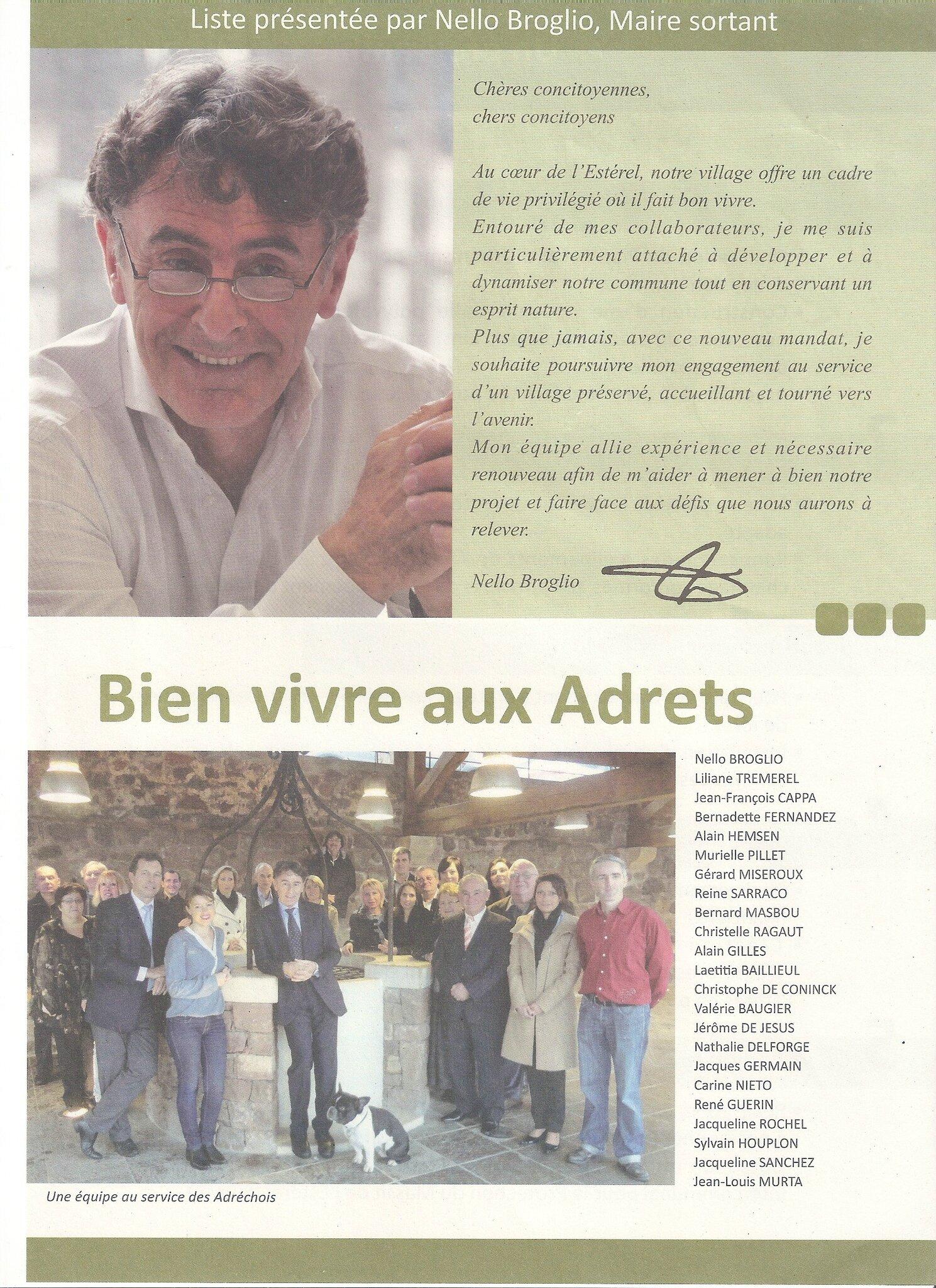 Election Municipale Aux Adrets Profession De Foi Programme De