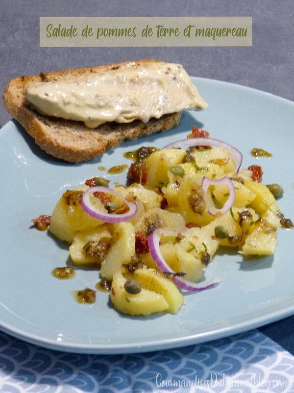 Salade de pommes de terres tomates séchées câpres et tartine de maquereau à la moutarde (1)