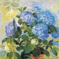 Le pho (vietnam 1907 - france 2001). les hortensias bleus (the blue hydrangeas)