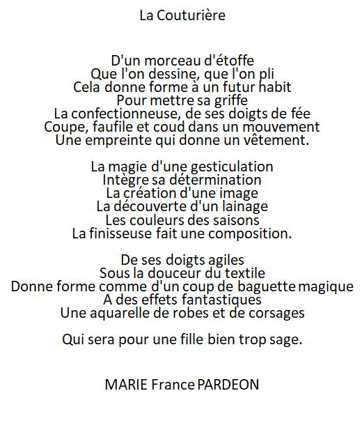 """Pour commencer la nouvelle saison, Poème """"La Couturière"""""""