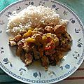 Poulet et légumes au curry vert et au lait de coco