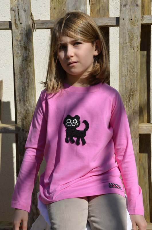 t-shirt fille personnalisé chat brodé coton rose manches longuesrikiki kids - Copie