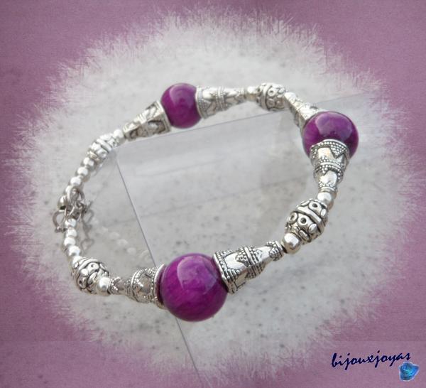Bracelet Ethnique Capa 3 Perles 12 mm Jade Mauve Argent du Tibet