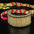 A diamond-set and enamelled gold armband (bazuband), north india, 19th century