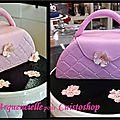 Gâteau sac à main rose