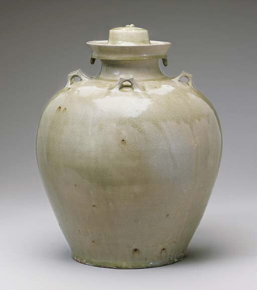 A Rare Large Grey-Green-Glazed Jar and Cover, Six Dynasties (220 or 222–589)