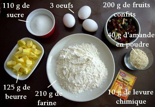 ingrédients cake aux fruits confits