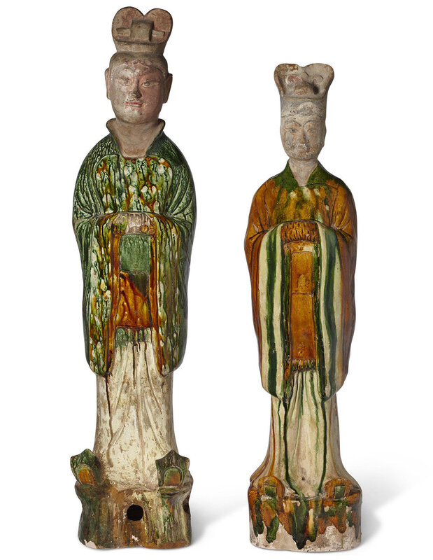 Two sancai-glazed pottery figures of officials, Tang dynasty (AD 618-907)