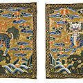 A pair of military official's qilin rank badges, qing dynasty, 18th century