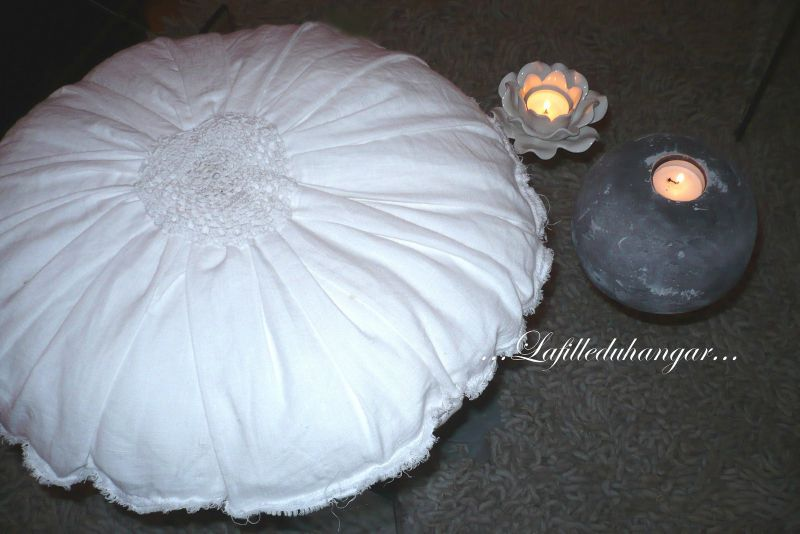 coussin rond lin