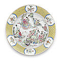 A very large famille rose 'daoist immortals birthday celebration' dish, yongzheng period (1723-1735)