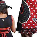 Robe maille Noire écru Rouge Saint Valentin Look graphique à dentelle & imprimé Rouge Coeurs / vichy et pois