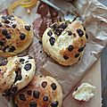 Briochettes chocolat, raisins, orange