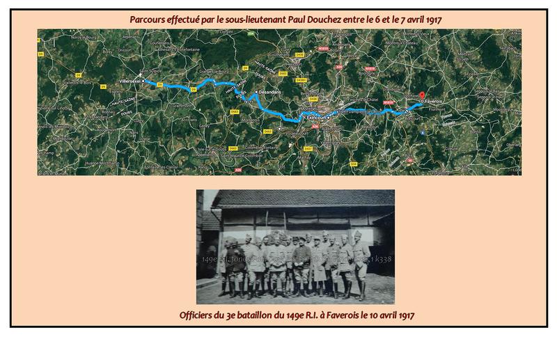 Parcours_effectu__par_le_sous_lieutenant_Paul_Douchez_les_6_et_7_avril_1917