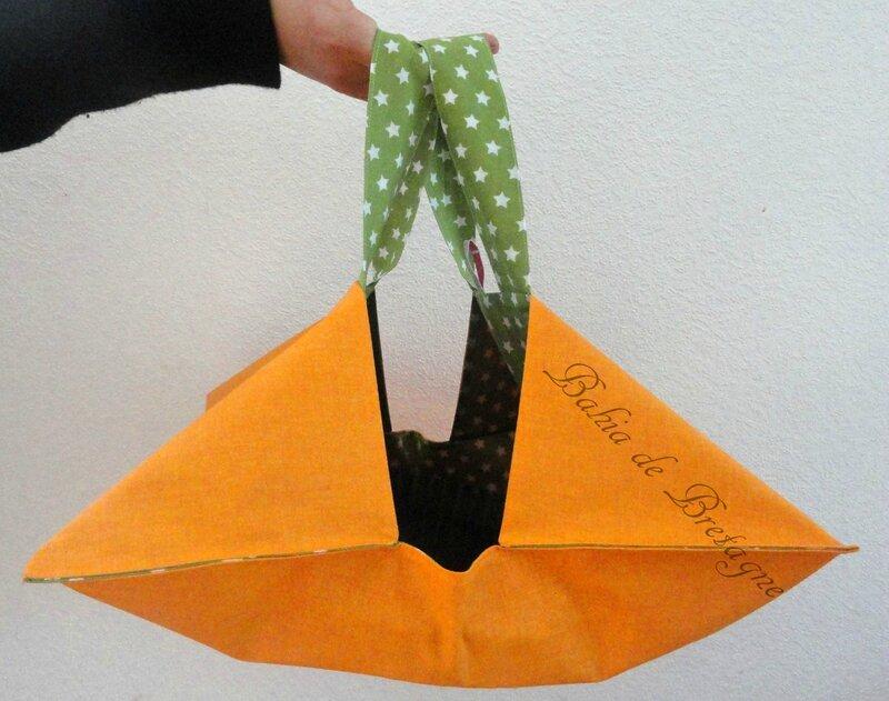 Sac à tarte Orange et coton vert à étoiles