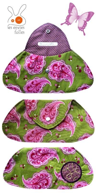 trousse violette rose et verte