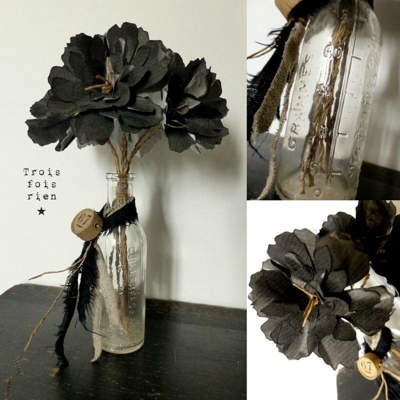 Bouquet fleurs papier kraft noir et ficelle, fiole ancienne en verre gradué Fiole N°35 (3)
