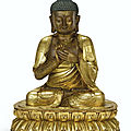 A gilt-bronze figure of a seated shakyamuni buddha, late ming-early qing dynasty, 17th century
