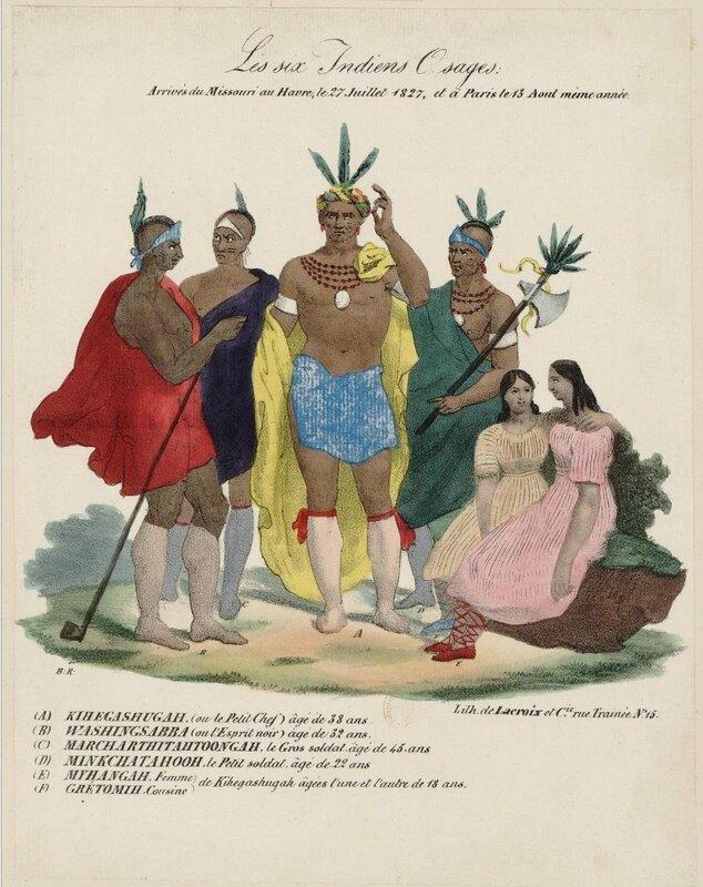 Les Six Indiens osages arrivés du Missouri au Havre le 27 juillet 1827 et à Paris le 13 août 1827