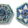 Two mamluk underglaze-painted pottery tiles, damascus, syria, 15th century