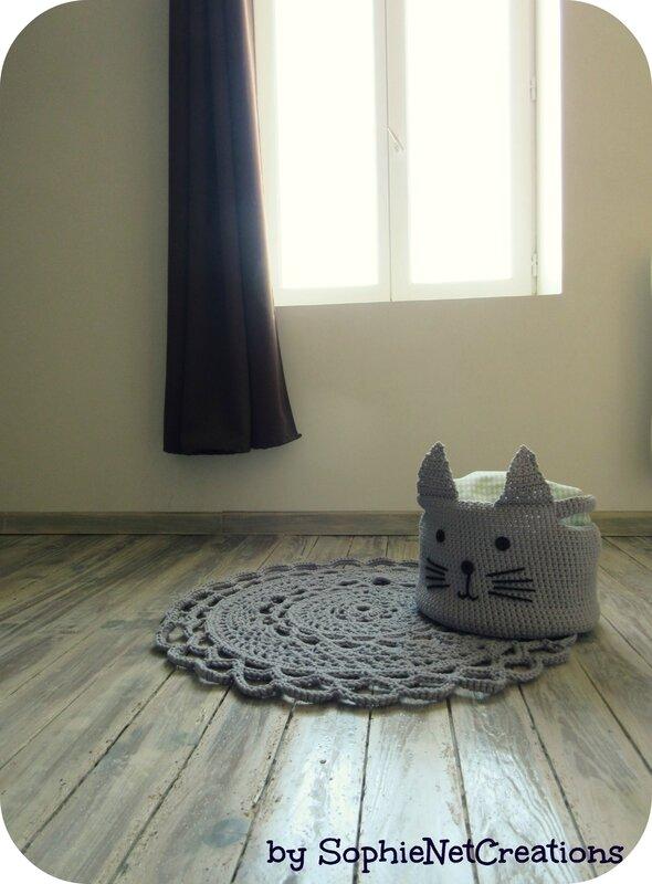 Tapis et panier chat crochet