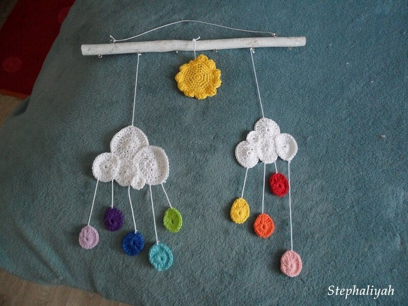Mobile nuages crochet - 3