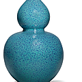 A fine and very rare large robin's egg-glazed double-gourd vase, qing dynasty, 18th century