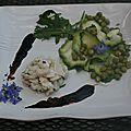 Ceviche de merlan avec sa garniture verte caramel de vinaigre balsamique