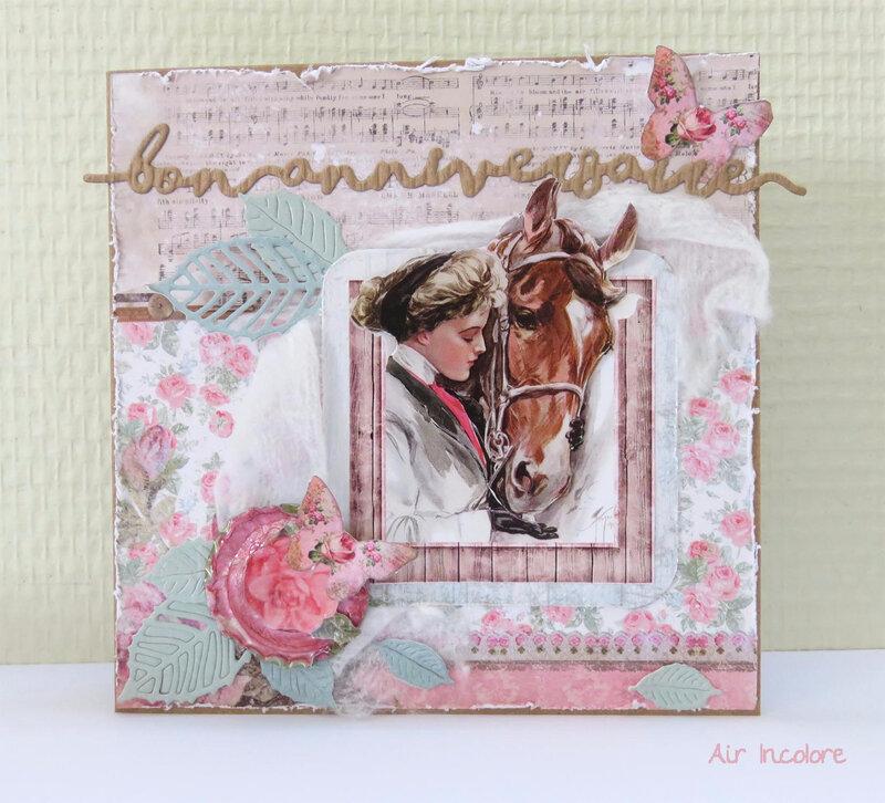Carte Shabby avec cheval. Sahbby card