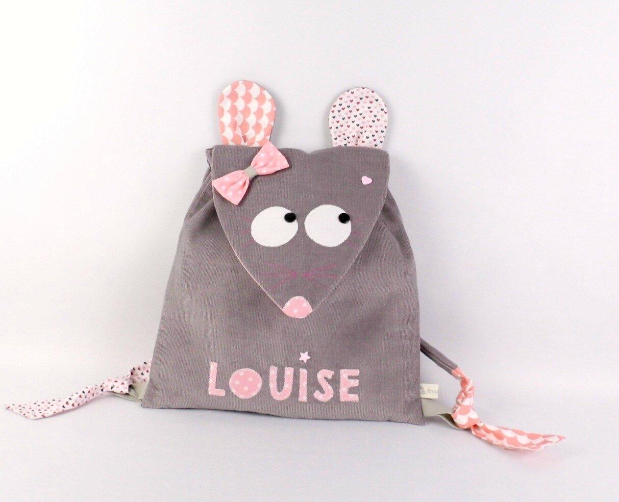 Sac à dos maternelle souris prénom Louise personnalisable gris rose pale sac maternelle fille liberty