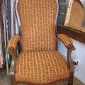 fauteuil Voltaire, tissu JAB