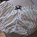 Culotte BIANCA en coton écru imprimé rayures de fleur marine - noeud marine (2)