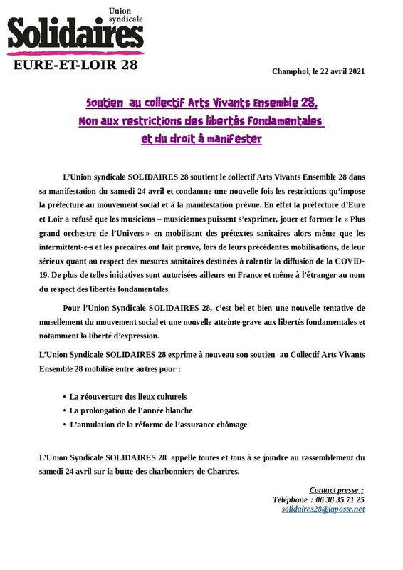 Communiqué de soutien au collectif Arts Vivants Ensemble 28_DEF