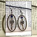 Boucles d´oreilles grand anneau ovale coeur en verre et clé