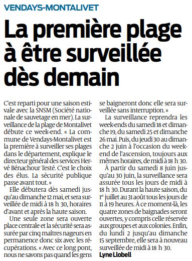 2019 04 26 SO Vendays-Montalivet la première plage à être surveillées dès demain